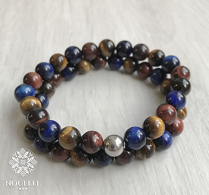 Men's Bracelets - Tiger Eye Multi Blue/Silver