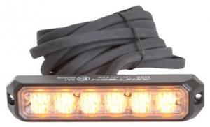 Blixtljus 6 LED R65 orange 12/24V 3m kabel