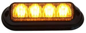 Blixtljus 4 LED R65 orange 12/24V 3m kabel