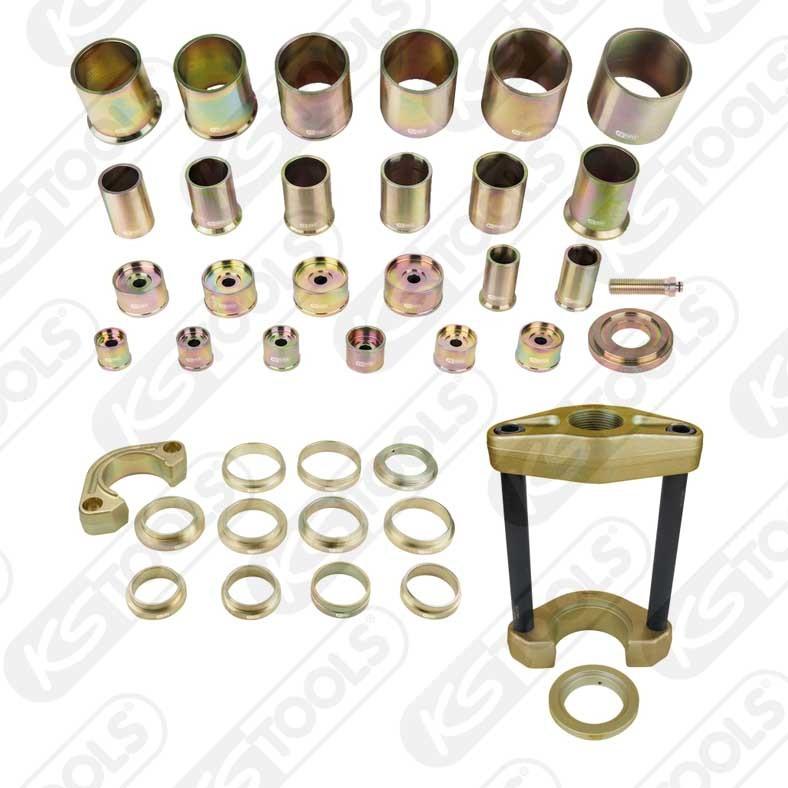 Universal verktygssats för kompakt hjullagermontering och avmontering samt utpressning av drivaxlar, 20-delars