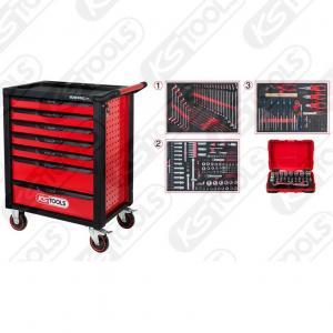 RACINGline SVART / RÖD verkstadsvagn med sju lådor och 341-delars premiumverktyg