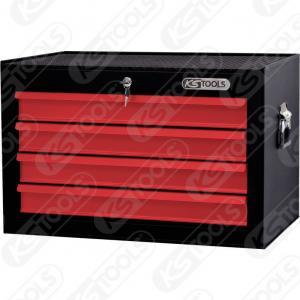 BASICline verkstadsvagnöverdel, 4 lådor, svart/röd