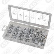 Sortiment gängnitar, aluminium, M3 x 9 mm - M10 x 21 mm, 150-delars