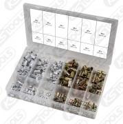 Sortiment gängnitar, stål och aluminium, M3 x 9 mm - M10 x 21 mm, 300-delars
