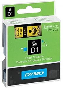 Dymo Tape D1 6mm Svart på Gul