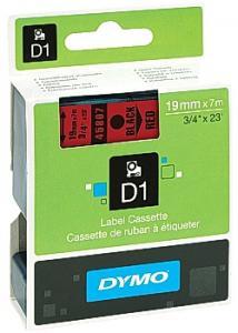 Dymo Tape D1 19mm Svart på Röd