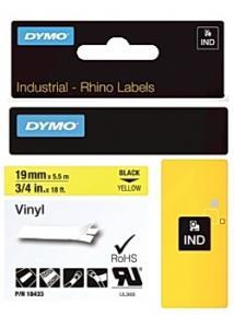 Dymo Tape Rhino Vinyl 19mm x 5,5m Svart/Gul (fp om 5 st)
