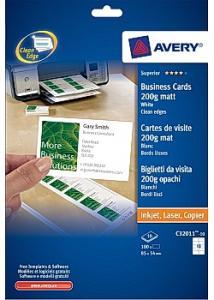 Avery Visitkort matt, 200g, 85x54mm (fp om 100 st)