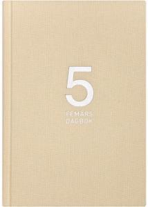 Burde 5-årsdagbok, linnetextil beige-1058