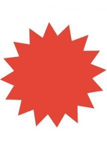 Textkartong stjärna röd 180mm (fp om 25 st)