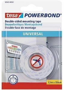 tesa® Dubbelsidig fästtejp, Powerbond® Universal, vit, 19mm x 1,5m, 58565 (rulle om 1.5 m)