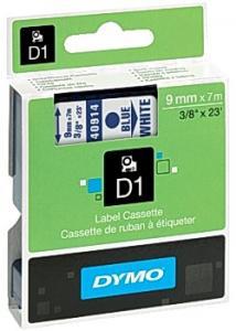 Dymo Tape D1 9mm Blå på Vit