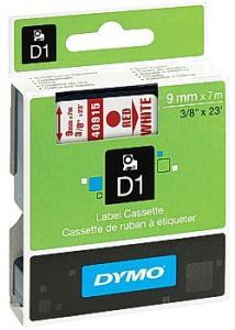 Dymo Tape D1 9mm röd på vit