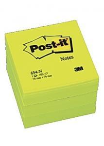 Post-it® Notes neon 76x76mm gul (block om 100 blad)