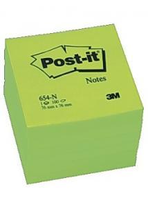 Post-it® Notes neon 76x76mm grön. (block om 100 blad)