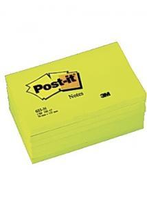 Post-it® Notes neon 76x127mm gul (block om 100 blad)