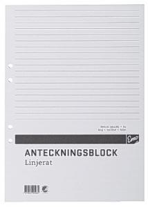 Anteckningsblock A4 100 blad linj hål TF