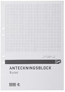 Anteckningsblock A4 100 blad rut hål TF