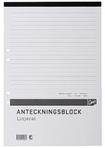 Anteckningsblock A4 100 bl linj hål perf