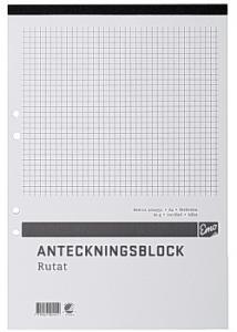 Anteckningsblock A4 100 bl rut hål perf