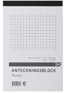 Anteckningsblock A6 100 blad rutat perf