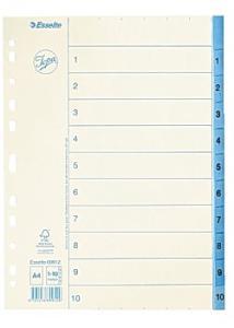 Jopa Pappersregister A4 1-10 vit/blå
