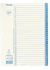 Jopa Pappersregister A4 1-31 vit/blå