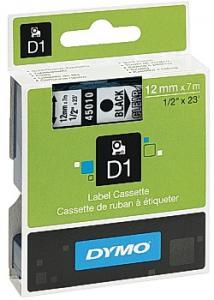Dymo Tape D1 12mm svart på klar