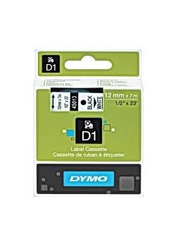 Dymo Tape D1 12mm svart på vit