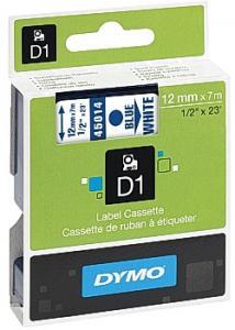 Dymo Tape D1 12mm blå på vit