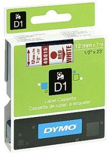 Dymo Tape D1 12mm röd på vit