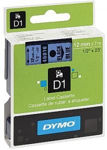 Dymo Tape D1 12mm svart på blå