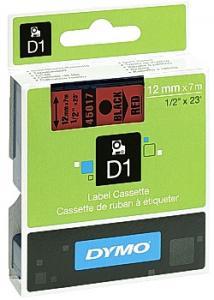 Dymo Tape D1 12mm svart på röd