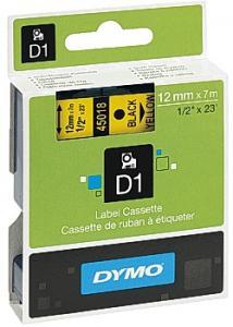 Dymo Tape D1 12mm svart på gul