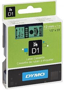 Dymo Tape D1 12mm svart på grön