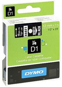 Dymo Tape D1 12mm vit på svart