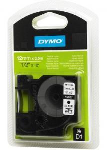 Dymo Tape D1 12mm Nylon svart på vit