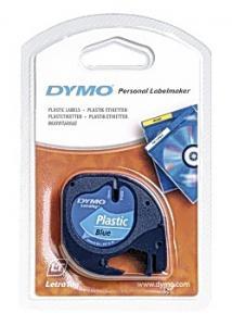 Dymo Tape LetraTAG plast 12mm svart på blå