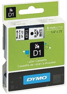 Dymo Tape D1 6mm svart på vit