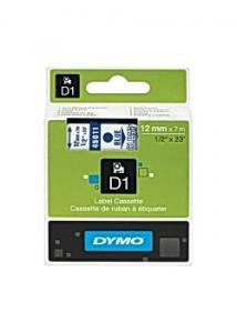 Dymo Tape D1 12mm blå på klar