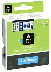Dymo Tape D1 19mm blå på vit