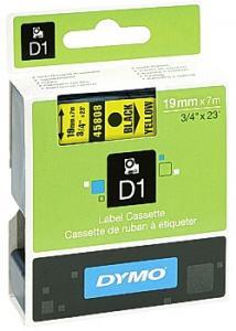 Dymo Tape D1 19mm svart på gul