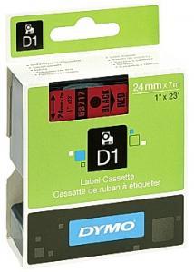 Dymo Tape D1 24mm svart på röd (rulle om 7 m)