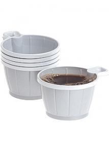 Kaffekopp plast 21cl silver/vit (fp om 50 st)