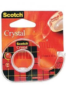 Scotch® Tejp crystal m.hållare 10mx12mm (rulle om 10 m)