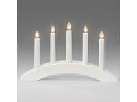 Ljusstake 5-arm båge trä vit