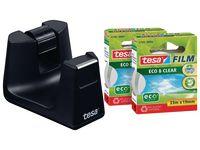tesa® Easy Cut® SMART skrivbordstejphållare, svart, med 2 rullar tesafilm® Eco & Clear-tejp, 19 mm x 33 m, 53905 (set om 3 st)