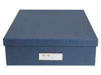 Förvaringsbox m.lock kartong A4 blå