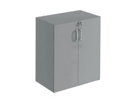 Hylla med dörrar 2-plan monterad grå