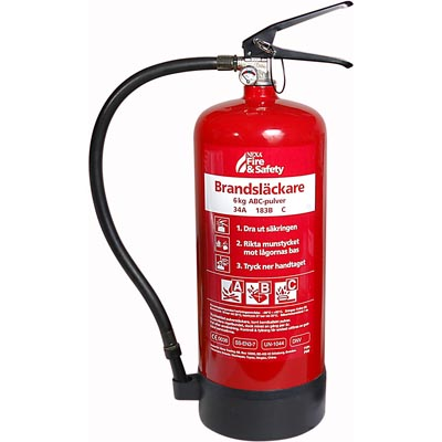 Brandsläckare, 6 Kg  ABC Pulver